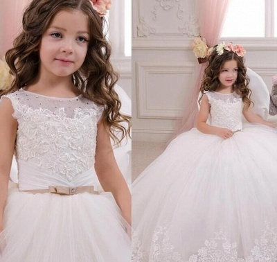 White Flower Girls' Dresses Lace Tulle Puffy Ball Gown Girls' Pageant Dresses Communion Gowns_3