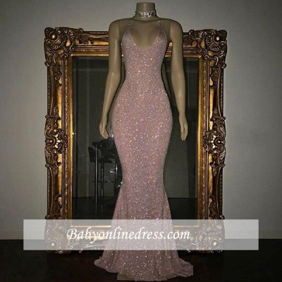 Stunning Sequins Mermaid Prom Dresses | Shiny Spaghettis Straps Evening Gowns_1