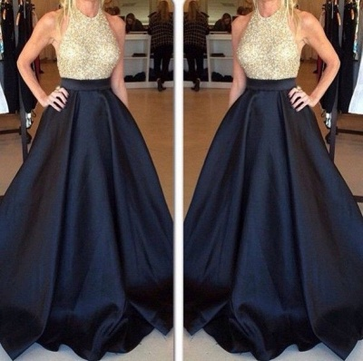 Halter Neck Prom Dresses Royal Blue Puffy Long Formal A-line Evening Gowns_2