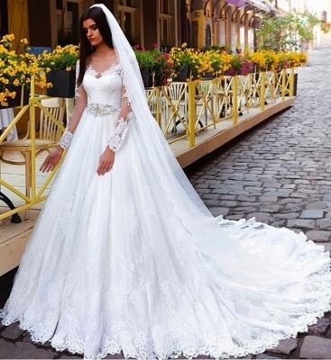 Elegant Long Sleeves Crystal Lace Princess Wedding Dresses_3