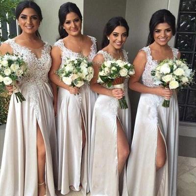 White Lace Appliques Bridesmaid Dresses A-Line Side Slit Party Gowns_3
