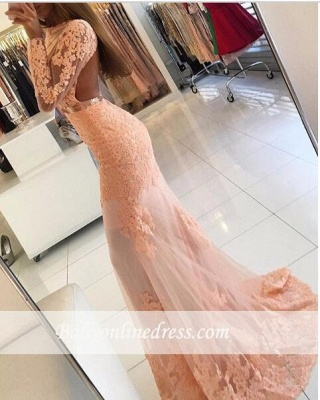 2018 Lace-Appliques Long-Sleeve Newest High-Neck Mermaid Prom Dress_1