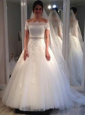 Vintage A-line Short-Sleeves Lace Sweep Train Off-the-shoulder Wedding Dresses_2
