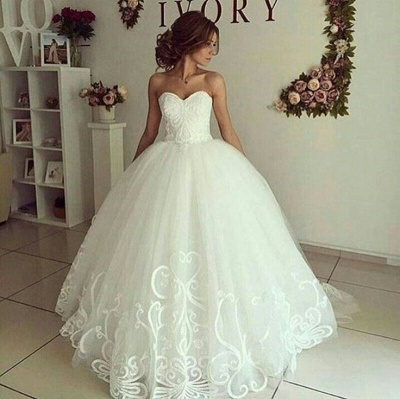Elegant Ball-Gown Sweetheart-Neck Appliques Wedding Dresses_3