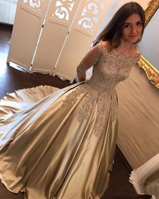 A-Line Evening Dresses Bateau Neck Long Sleeves Lace Appliques Prom Dresses_1