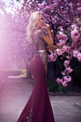Vintage Appliques Mermaid Evening Gowns | Off-the-Shoulder Belt Long Formal Dresses_4