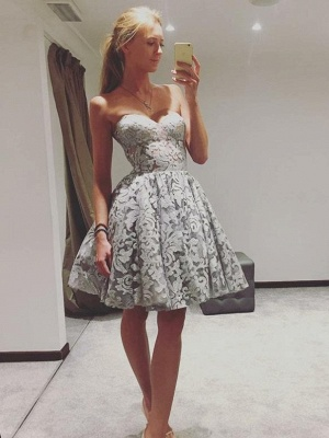 Sexy Sweetheart Sleeveless Lace A-Line Homecoming Dresses | Short Cocktail Dresses_1