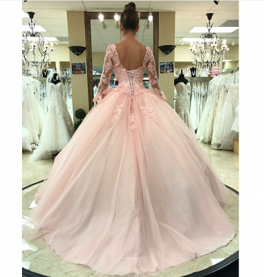 Sweetheart Long Sleeves Ball Gown Wedding Dresses | Simple Lace Quinceanera Dress_3