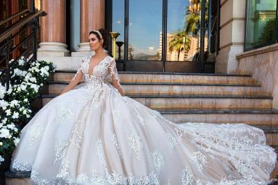 Glamorous Princess Court-Train Lace Long-Sleeve Wedding Dresses_4