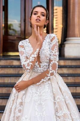 Glamorous Princess Court-Train Lace Long-Sleeve Wedding Dresses_2