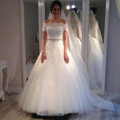 Vintage A-line Short-Sleeves Lace Sweep Train Off-the-shoulder Wedding Dresses_3
