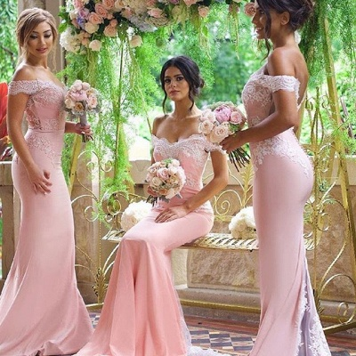 Off the Shoulder Lace Appliques Elegant Pink Mermaid Bridesmaid Dresses_3