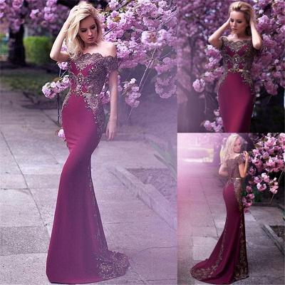 Vintage Appliques Mermaid Evening Gowns | Off-the-Shoulder Belt Long Formal Dresses_6