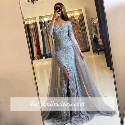 2018 Front-Split Mermaid Lace-Appliques Newest Sweetheart Long-Sleeve Prom Dress SP0345_1