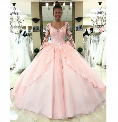 Sweetheart Long Sleeves Ball Gown Wedding Dresses | Simple Lace Quinceanera Dress_2
