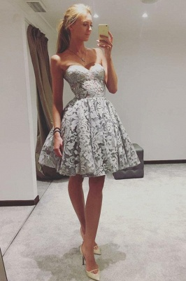 Sexy Sweetheart Sleeveless Lace A-Line Homecoming Dresses | Short Cocktail Dresses_3
