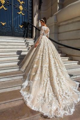 Glamorous Princess Court-Train Lace Long-Sleeve Wedding Dresses_3