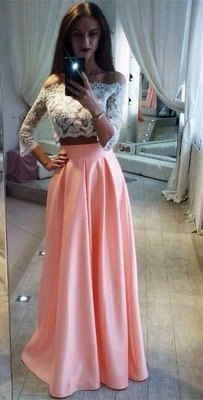 Two-Pieces Elegant Lace Off-the-Shoulder A-Line Pink Prom Dress_2