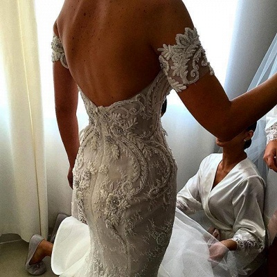 Lace Appliques A-line Wedding Dresses |  White Strapless Cathedral Bridal Gowns_3