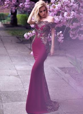 Vintage Appliques Mermaid Evening Gowns | Off-the-Shoulder Belt Long Formal Dresses_1