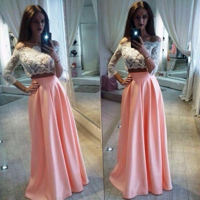 Two-Pieces Elegant Lace Off-the-Shoulder A-Line Pink Prom Dress_3