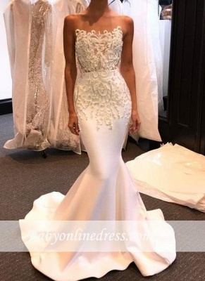 Shiny White Mermaid Evening Gowns 2018 Long Prom Dresses with Beadings_3