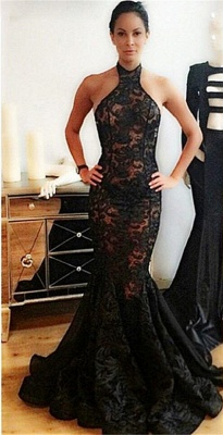 Popular Black Mermaid Halter Backless Lace Prom Dress_3