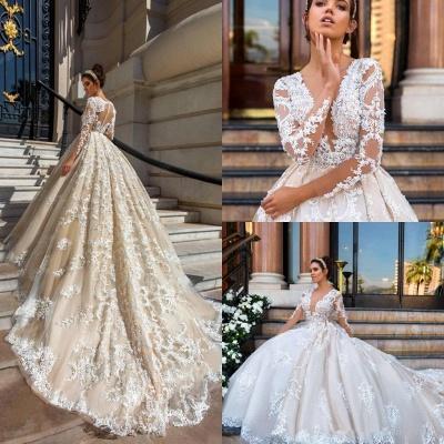Glamorous Princess Court-Train Lace Long-Sleeve Wedding Dresses_5