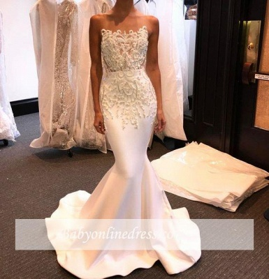 Shiny White Mermaid Evening Gowns 2018 Long Prom Dresses with Beadings_2
