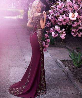 Vintage Appliques Mermaid Evening Gowns | Off-the-Shoulder Belt Long Formal Dresses_3