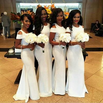 White Mermaid Bridesmaid Dresses   Simple Capped Sleeves Wedding Party Dress_3