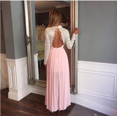 Lace Split Elegant Chiffon Long-Sleeve A-line High-Neck Zipper Prom Dress_3
