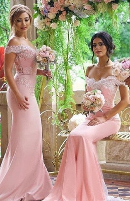 Off the Shoulder Lace Appliques Elegant Pink Mermaid Bridesmaid Dresses_1