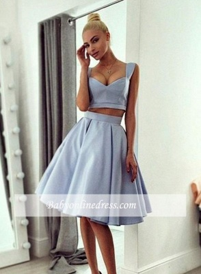 Chic Ball-Gown Straps Light-blue Knee-length Prom Dress_3