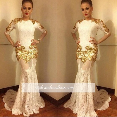2018 Sexy Lace Mermaid Prom Dress Half-Sleeves Gold Appliques Evening Gowns_1