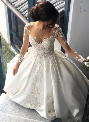 Luxury Ball Gown Wedding Dresses | Sheer Long Sleeves Chapel Train Bridal Gowns_7