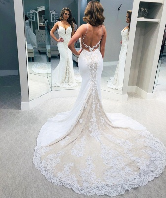Backless Lace Wedding Dresses   V-neck Mermaid Bridal Gowns_2