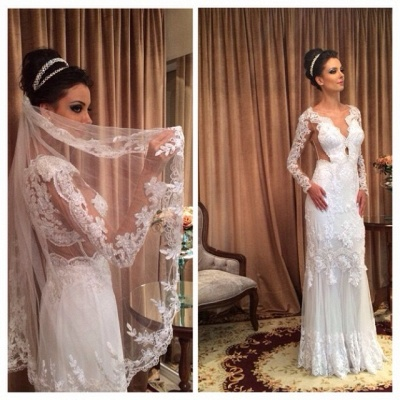 White Lace Sheath Sleeve Column Floor Length Long Wedding Dress_3