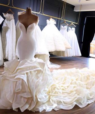 Strapless Sweetheart Sleek Mermaid Wedding Dresses with Tiered Train_2