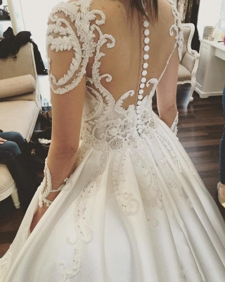 Luxury Ball Gown Wedding Dresses | Sheer Long Sleeves Chapel Train Bridal Gowns_5