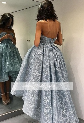 Chic Modern High-Low Sleeveless Prom Dress Ball-Gown Strapless Evening Gown_3