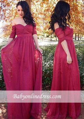 Off-the-shoulder Ruffles Half-sleeve Long Chiffon Cheap Evening Dresses_3