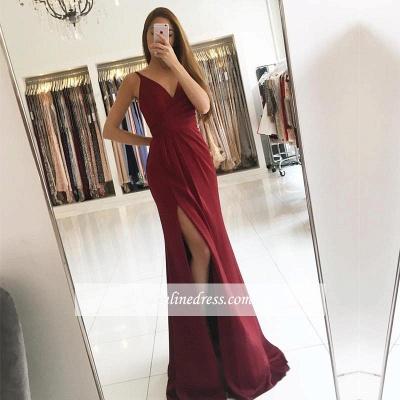 2018 Sleeveless Straps Front-Split Modest V-neck Prom Dress SP0344_1