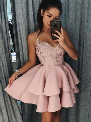 Sexy Spaghetti Straps Layers Homecoming Dresses | Tutu Mini A-Line Cocktail Dresses_1