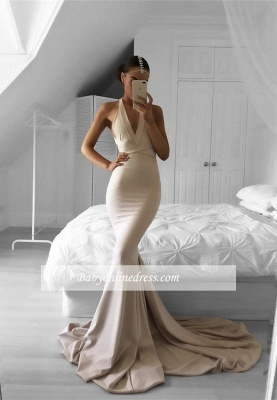 Halter Long Mermaid Sexy Sleeveless V-neck Prom Dress_3