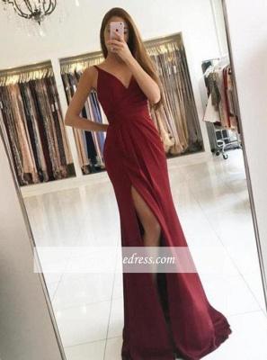 2018 Sleeveless Straps Front-Split Modest V-neck Prom Dress SP0344_3