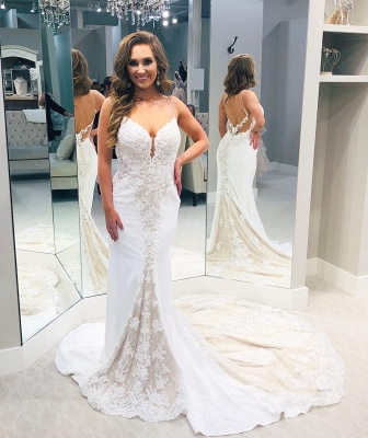 Backless Lace Wedding Dresses   V-neck Mermaid Bridal Gowns_3