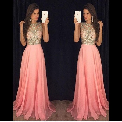 Long Chiffon Prom Dresses Pink Gold Beading Sleeveless Gorgeous A-line Evening Gowns_3