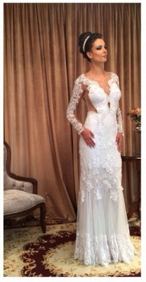 White Lace Sheath Sleeve Column Floor Length Long Wedding Dress_2