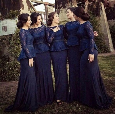 Blue Long Sleeve Charming Bridesmaid Dresses Elegant Bateau Sweep Train Wedding Gowns_2